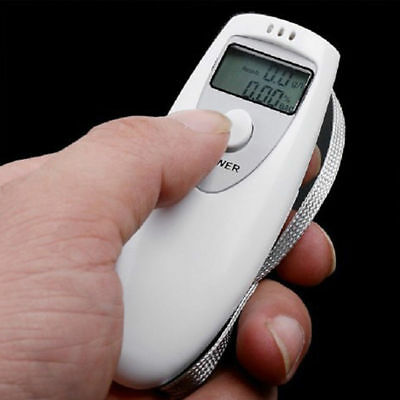 Portable Digital Alcohol Breath Breathalyser Tester LCD Analyzer Detector White