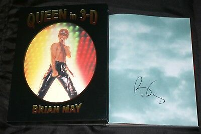 BRIAN MAY Hand Signed QUEEN IN 3D 1st ed BOOK w/ PROOF PHOTOS Freddie Mercury
