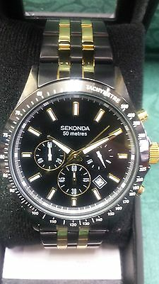 Sekonda Men's Chronograph 50M Black Dial Watch~ New In Box No Reserve