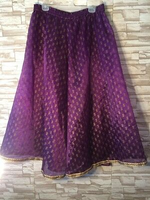 Indian Bollywood Purple Gold-Embellished Choli Skirt with Matching Sash Size 34