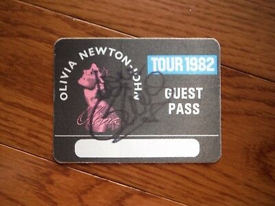 Olivia Newton John Autographed Backstage Pass Hand Signed Grease
