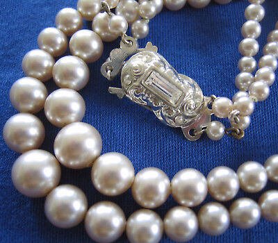 ANTIQUE VINTAGE ART DECO TO 50's 2 ROW GLASS PEARL BEADS NECKLACE LOVELY CLASP