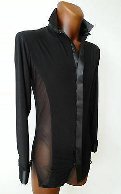 059 Mens Black Stretch Latin / Salsa / Party Shirt With Mesh And Satin