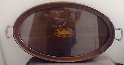 Antique Mahogany Oval Serving Tray With Inlaid Urn Design And Glass Top