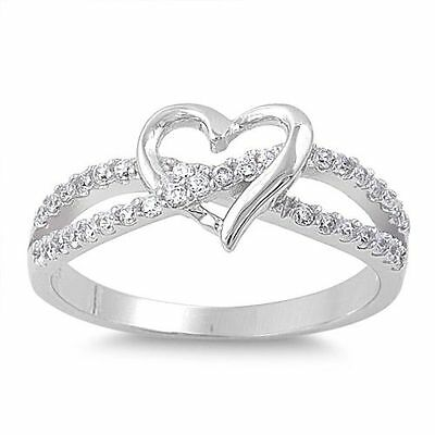 STERLING SILVER Love Heart Promise Commitment Ring Size 4 5 6 7 8 9  H J L N P R