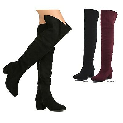 NEW Women Over The Knee High Foldable Collar Block Med Heel Boot Size 5.5 - 10