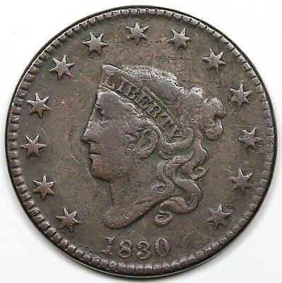 1830 Coronet Head Large Cent, Large Letters, F-VF detail