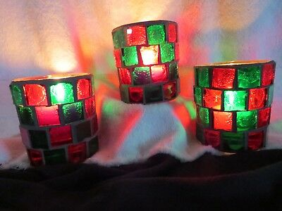Vintage Christmas Votive Holders Red and Green Glass Set of 3