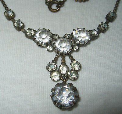 Beautiful Old Antique Vintage Edwardian To Art Deco Crystal Glass Necklace