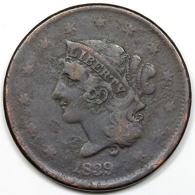 1839 Coronet Head Large Cent, Booby Head, VF detail