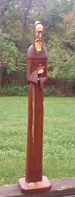 "Very Tall 28"" RARE Praying Holy Man Monk Statue - Hand Carved Wood Figure"