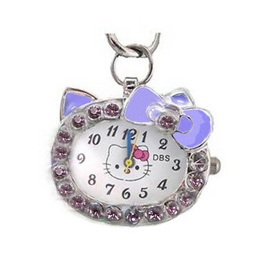 Kitty Cat Crystal Pendant Quartz Pocket Womens Girl Child Necklace Watch Purple