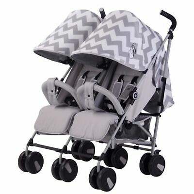 My Babiie MB22 Twin / Double From Birth Baby Folding Stroller - Grey Chevron