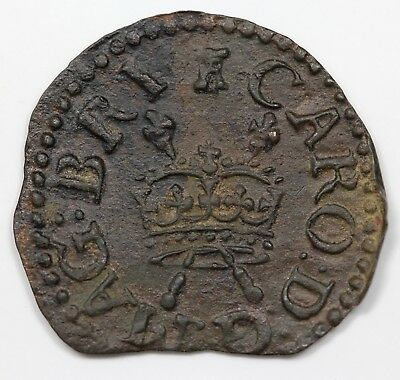 (c. 1640) Great Britain Farthing, Charles I, Castle mintmark, AU detail