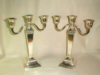 Candelabra pair big heavy silverplate old 2 arm awesome design column Corinthian