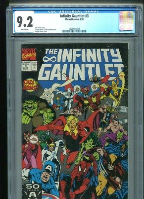 Infinity Gauntlet #3 (1991) CGC 9.2 WHITE pages Starlin Perez Thanos