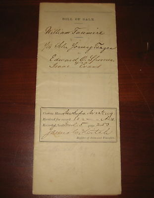 Orig 1/16 Bill of Sale Whaling Ship Schooner Young Teazer New Bedford Facemire