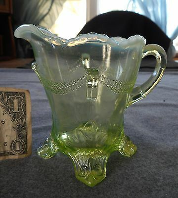 Antique Jefferson Green Vaseline Opalescent Swag With Brackets Creamer Pitcher