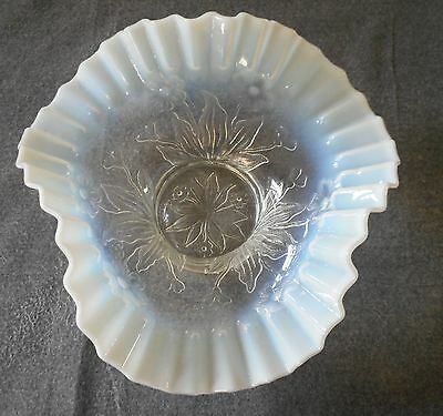 Antique Dugan French Opalescent Wilted Flowers Pattern Tri Corner Bowl