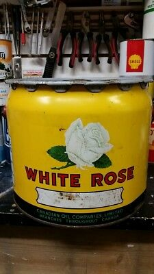 White Rose Grease 25 LB SAE 90 Motor Oil Tin Can Bucket Canadian Oil Companies