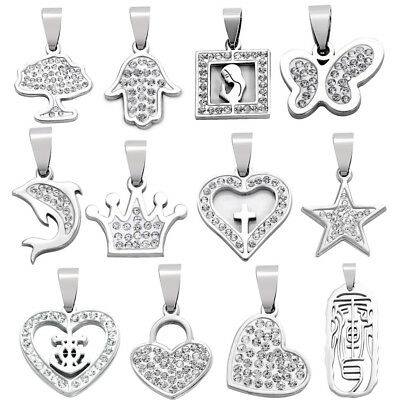 1x Stainless Steel Pendant Butterfly/Heart/Palm Hand Shaped Charm DIY Necklace