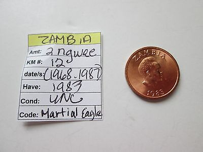 Single coin from ZAMBIA, 1983, 2 ngwee, KM 12, (1968-1987),  Unc.