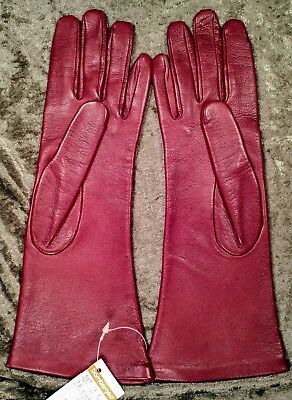 Red Leather Gloves ~ Size 7 ~ Made In Italy ~ Bamberger's ~ Silk Lined ~ N.W.T.