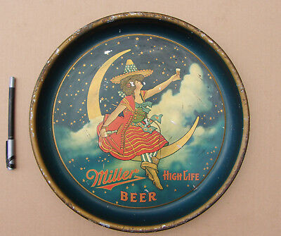 1930's Rare & Original MILLER HIGH LIFE Beer Tray, Girl in the Moon
