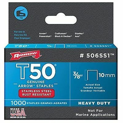 "Arrow Fastener 506SS1 Genuine T50 3/8"" 10mm Stainless Steel Staples, 1,000-Pack"