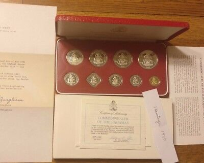 1981 Bahamas 9 Coin Proof Set OGP / COA low mintage $5 Silver Coin