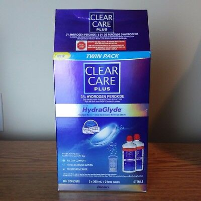 Clear Care Plus Cleaning Disinfecting Contact Solution With HydraGlyde 2 Bottles