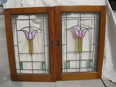 2 Stained Beveled Glass Cabinet Bookcase Doors from Milwaukee Bungalow Tulip