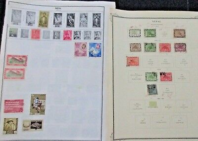 Nepal Postage Lot of Stamps Situated on 16 album pages not inspected /researched