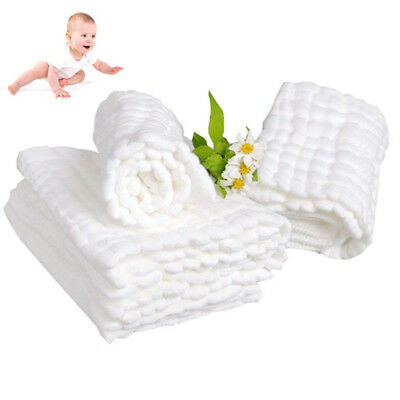 10Layers Cloth Cotton Baby Inserts Nappy Liners Diaper Reusable Washable White j