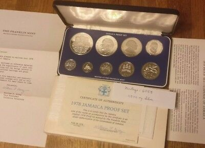 1978 Jamaican 9 Coin Proof Set OGP / COA Fmint thank you letter