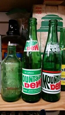 Mountain Dew Soda Pop Bottles Paper Label, ACL & Embossed No Return All Canadian