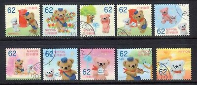 2017 Used Greeting  Pos Kuma and Friends, 62yens, 10 diff.  stamps. Latest! 05