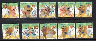 2017 Used Greeting  Pos Kuma and Friends, 82yens, 10 diff.  stamps. Latest! 06