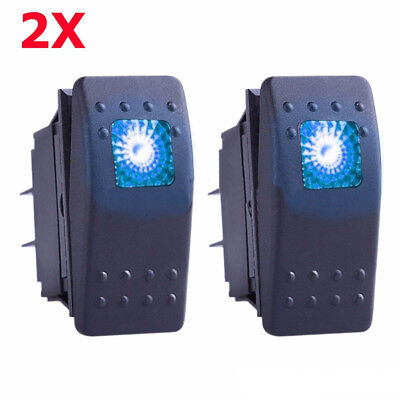 2x Blue S2 4Pin Waterproof 12V 20A Bar Rocker Toggle Switch LED Light Car Boat