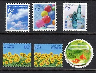 2017 Used Summer Greeting  62yens, 6 diff.  stamps. Latest! 16