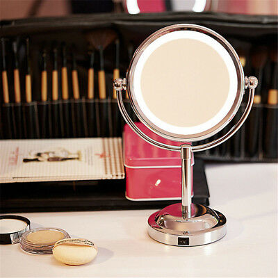 Beauty Double Side 5x Magnifying Makeup Cosmetic Stand Mirror with LED Light