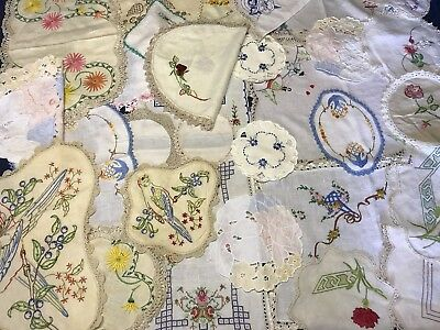 Bulk Hand Embroidered Doilies with Crochet Edges