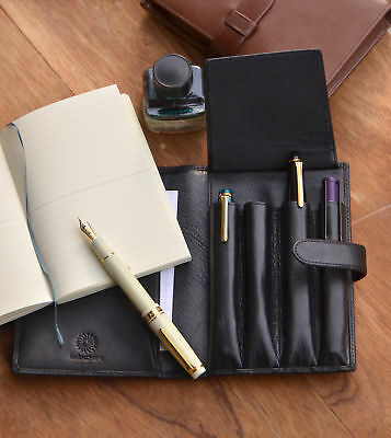 Made in Japan Wancher Genuine Leather Handmade Pen Case Black 4 Pens and Note