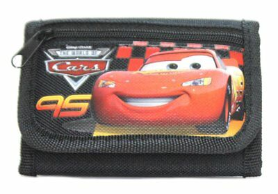 Disney CARS Lightning McQueen BLACK Kids Boy's Tri-fold Wallet
