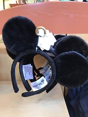 NEW Disney Parks Black Plush Mickey Mouse Headband Ears