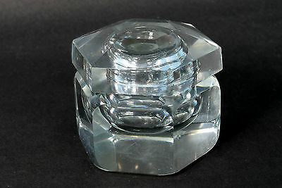 Antique Old Unique Shape Collectible Clear White Heavy Glass Inkwell. i31-26