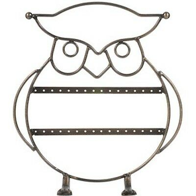 Steel Owl Earring Organizer Display Show Stand Holder Rack Portable Home Decor