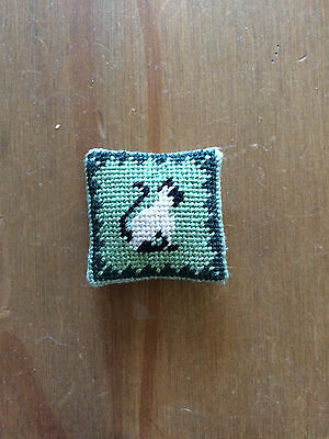 1/12 scale handstitched needlepoint siamese cat  cushion