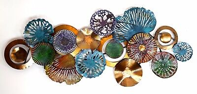 Abstract Metal Wall Art Coral Shell Tropical Colours Hanging Sculpture *150 cm*