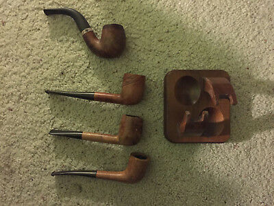 LOT OF 4 USED VINTAGE Briar SMOKING TOBACCO PIPES and wooden pipe stand included